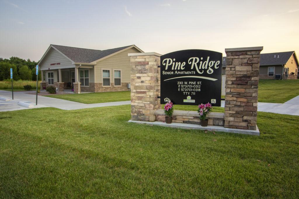 Pine Ridge, property sign, senior housing, LIHTC